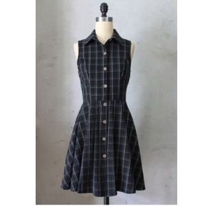 ModCloth black plaid sleeveless dress